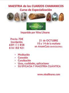 Curso de especialización : Maestria Cuarzos Chamánicos con Nina Llinares próximo 21/10