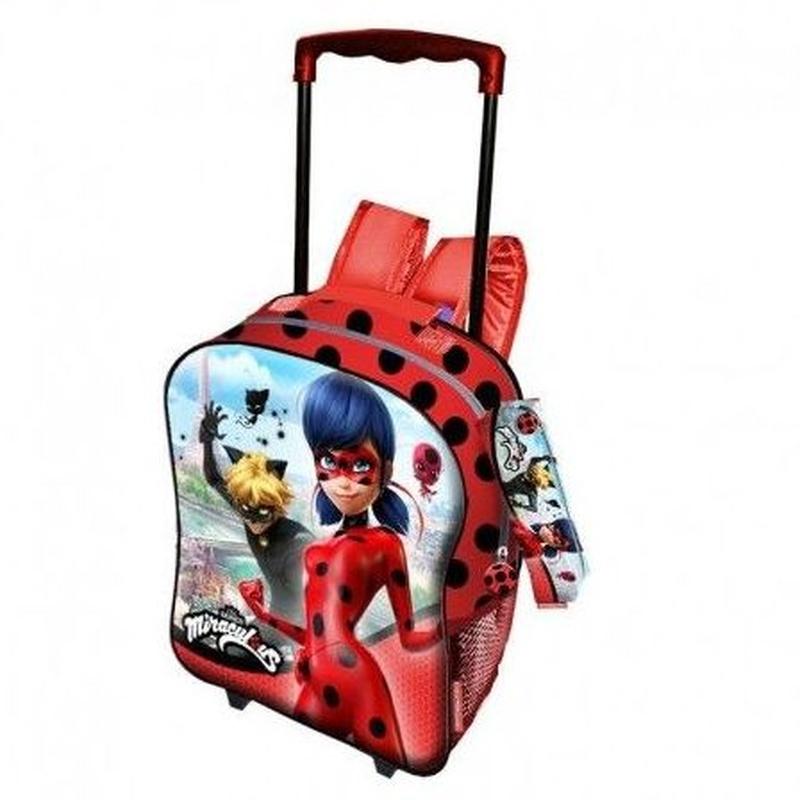 Mochila Prodigiosa Ladybug con carro más portatodo. 8435376336545