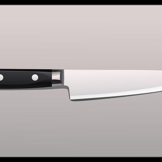 El acero inoxidable para los cuchillos en la cocina