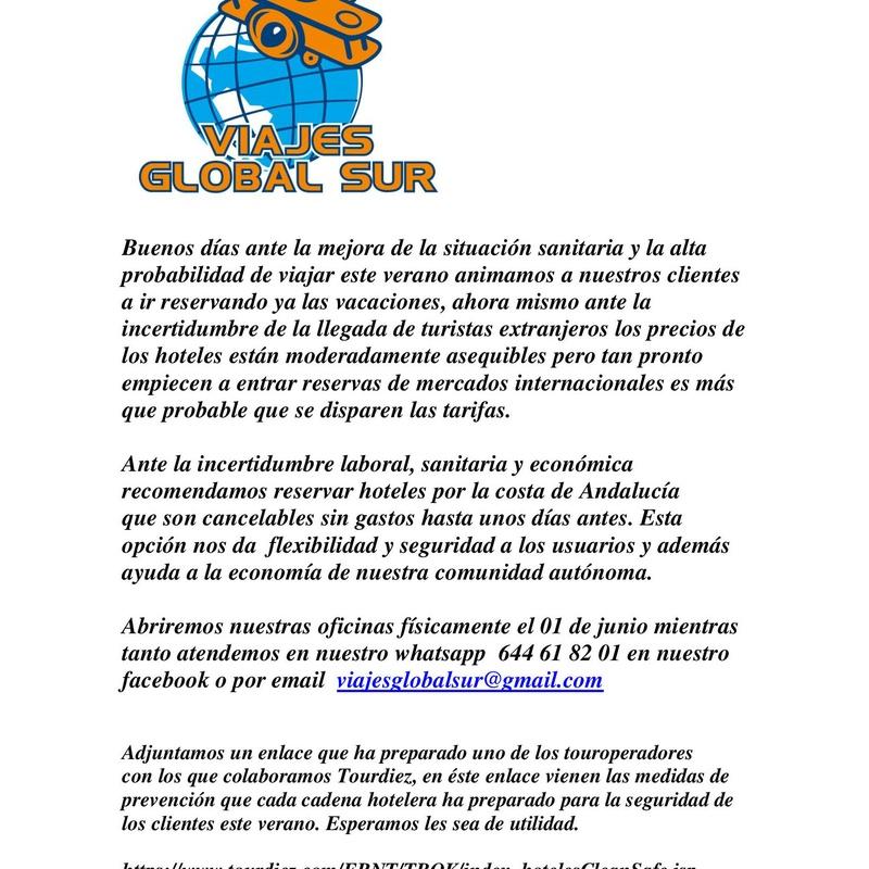 Comunicado de reapertura: Ofertas de Viajes Global Sur