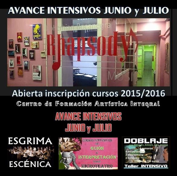 INTENSIVOS  junio y julio: Curso de GUIÓN para MICROTEATRO y/o INTERPRETACIÓN para MICROTEATRO/Clases de iniciación en DOBLAJE con Miguel Ángel del Hoyo/ESGRIMA ESCÉNICA