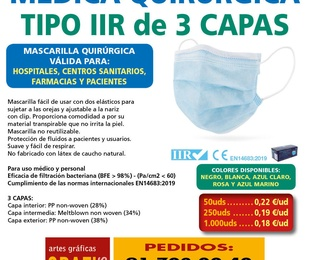 Mascarillas FFP2, FFP3, Higienicas Lavables y Quirúrgicas, Gel - COVID-19