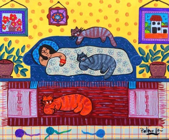 La hora de la siesta.acrilico/tela. 35x24cm. 250€.