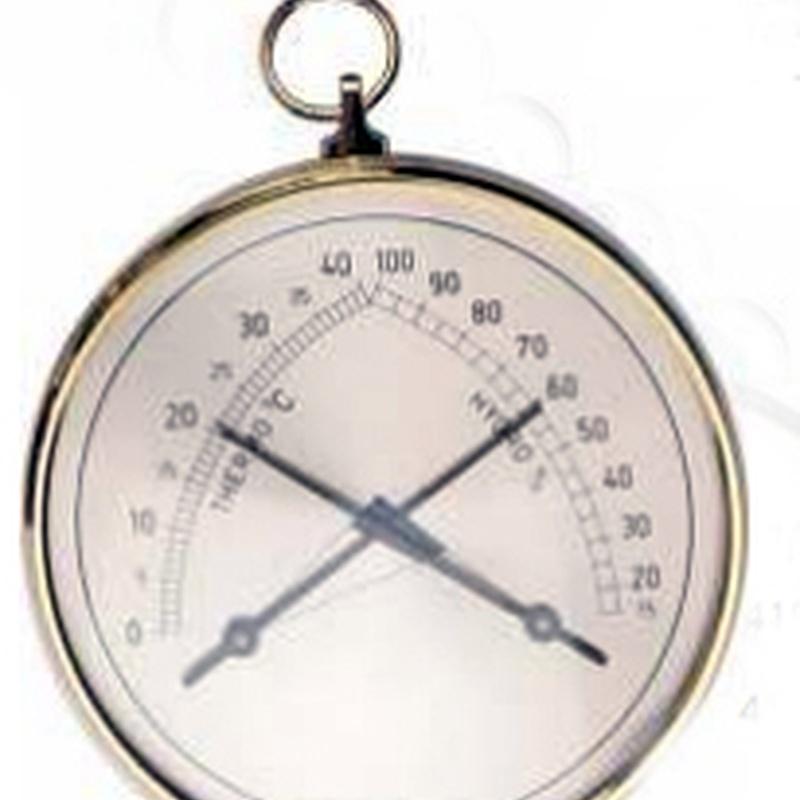 Termómetro-higrómetro dorado -- Precio 18€