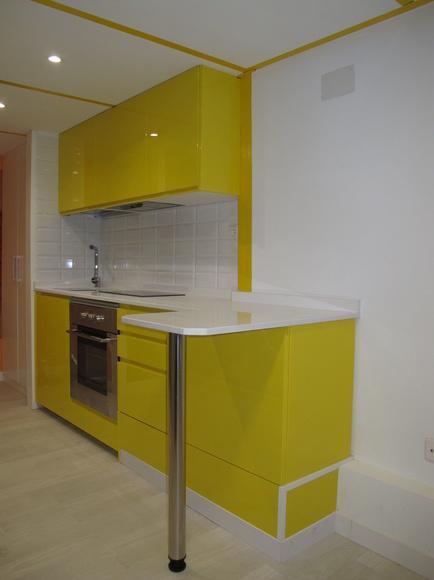 Mueble de Cocina DM Lacado Brillo Intenso Amarillo