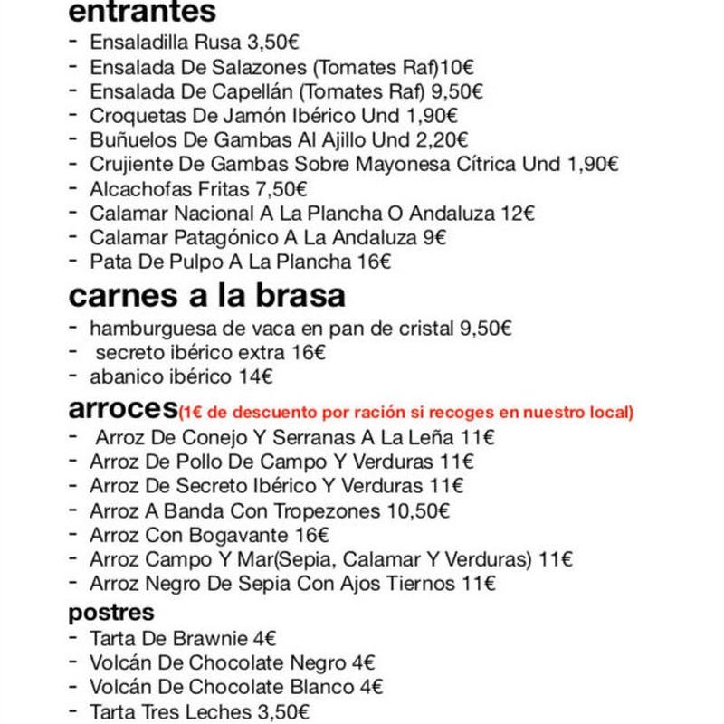 Carta de comidas para llevar: Carta, Menús y Bodega de Restaurante Bonavista (Club de Campo Elche)