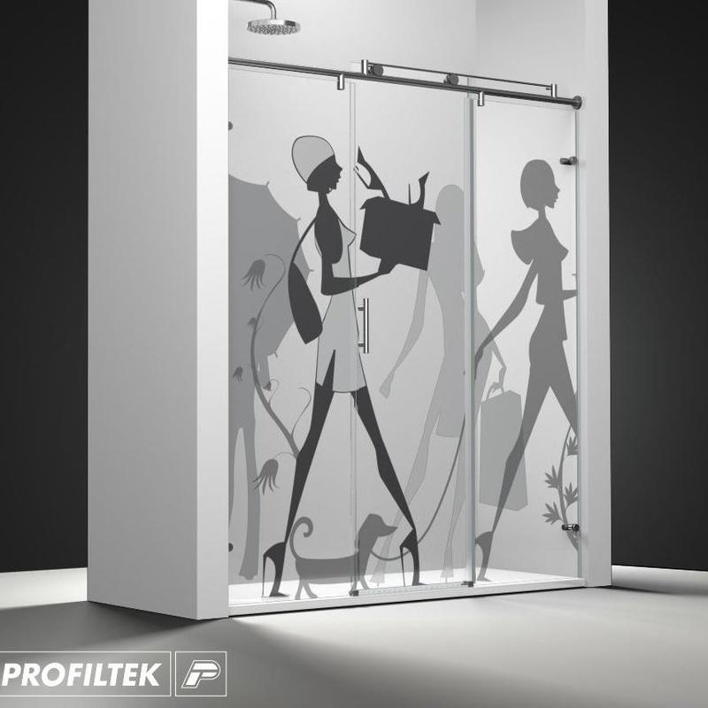 Mampara de baño Profiltek corredera serie Steel modelo ST-211 Classic decoración Cosmopolita