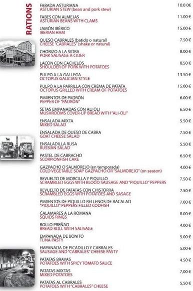 Nuestra Carta : Catálogo de La Camocha