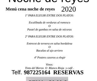 Menú cena noche de reyes 2020