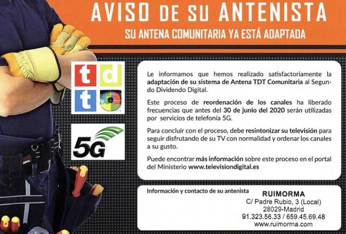 Segundo Dividendo Digital con RUIMORMA reparación de antenas en el Barrio del Pilar