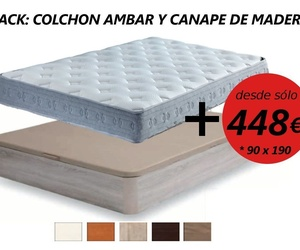 PACK COLCHON AMBAR Y CANAPE MADERA 90 X 190