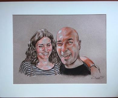 Retrato para pareja feliz, como regalo por el cumpleaños de él
