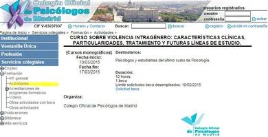 Curso en el Colegio oficial de Psicólogos de Madrid