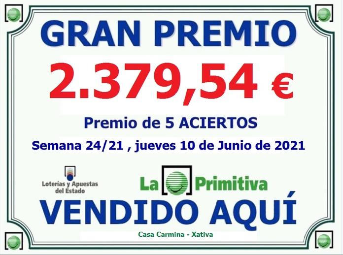 Premio 5 aciertos en la lotería primitiva del sorteo del pasado jueves 10 de Junio en CASA CARMINA