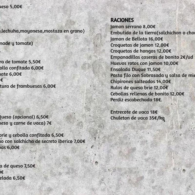 Carta Cafetería : Carta de Restaurante Duque