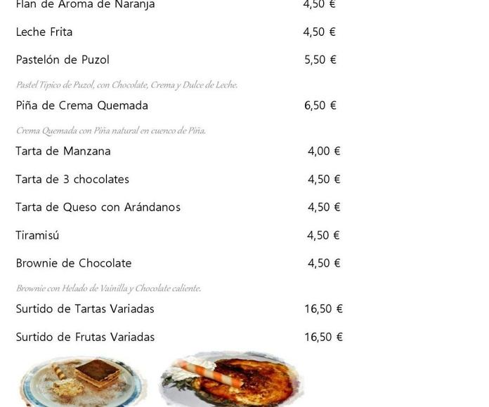 Nuestra Carta: Carta de Restaurante La Marina