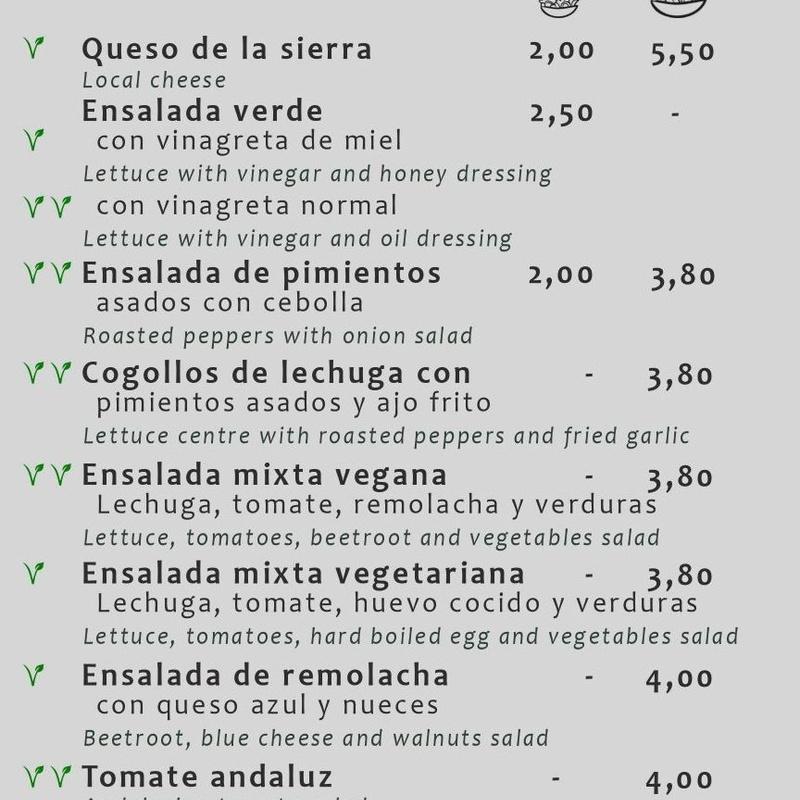 Veganos y vegetarianos: Carta de Bar Canijo