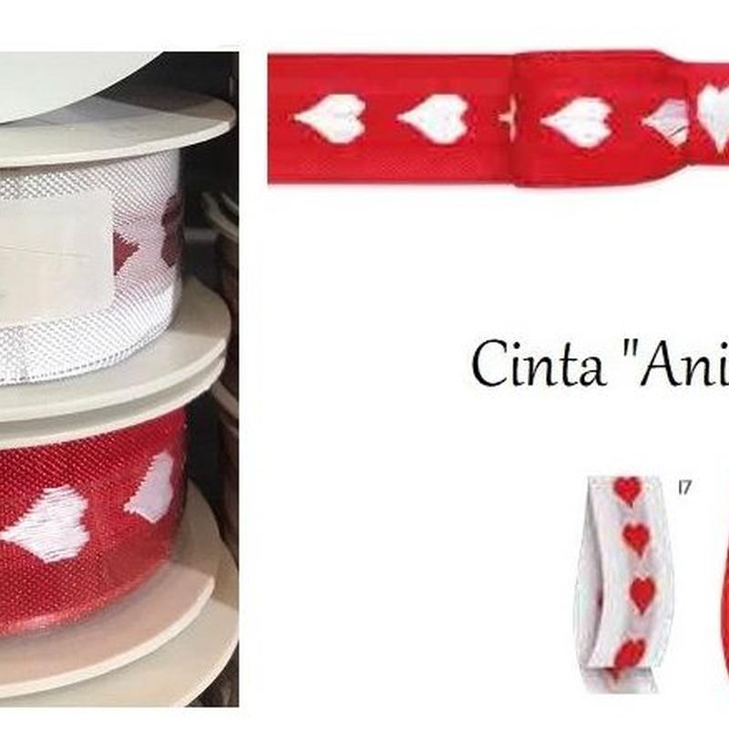 """CINTA DE CORAZONES MODELO """"Animato"""" (TELA ALAMBRADA) 30MM x 10MT REF: 354-30-10  (COL: 17 y 71) PRECIO: 5,00€"""