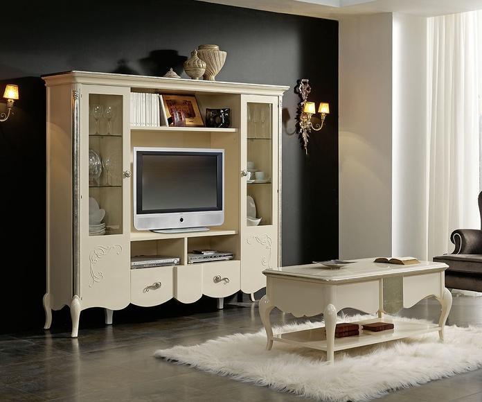 Mueble tv mod 78 Ares lacado marfil pan de plata