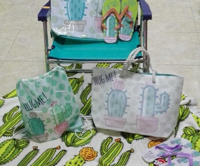 toallas redondas y artículos de playa
