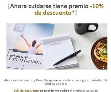 10% de descuento en tu próximo pedido de PronoKal