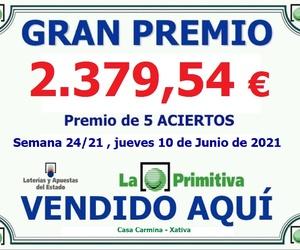 Premio 5 Aciertos en la lotería primitiva del pasado Jueves 10 de Junio en nuestro establecimiento de CASA CARMINA.