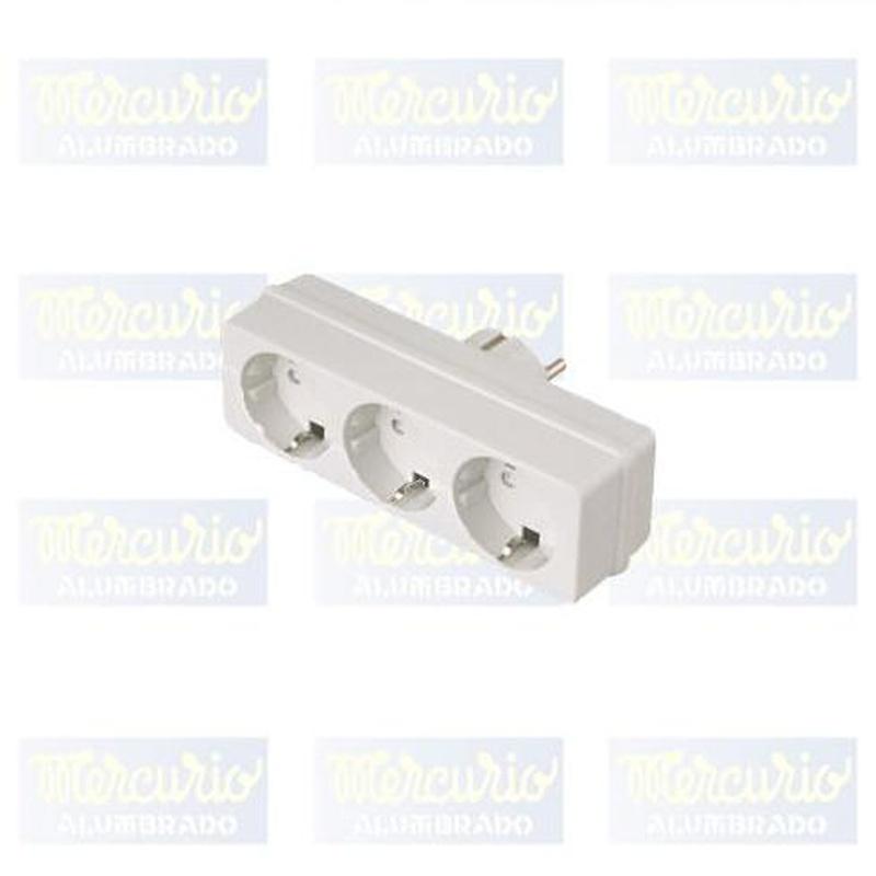 Adaptador rectangular de 3 tomas con toma de tierra.: Productos de Mercurio Alumbrado