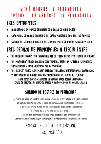 """NUEVO MENÚ GRUPOS """"ESPECIAL ARROCES"""""""