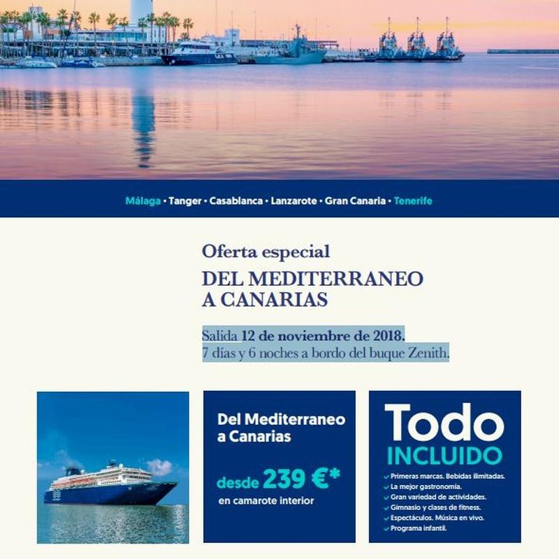 Oferta especial del Mediterráneo a Canarias: OFERTAS de Viajes Global Sur