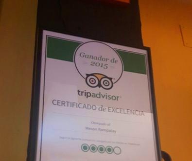 TRIPADVISOR CONCEDE AL MESON RAMPALAY EL CERTIFICADO DE EXCELENCIA 2015