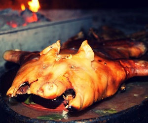 Cochinillo asado en horno de leña