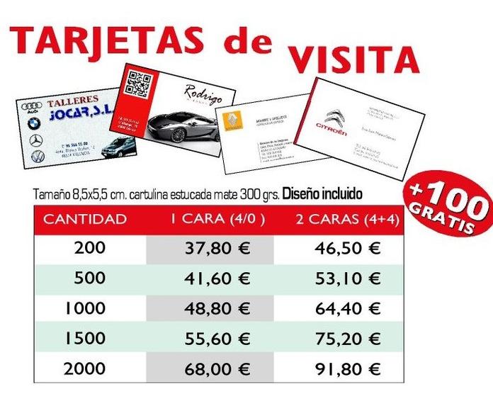 Tarjetas Comerciales: Productos y Servicios de Imprenta Llorens