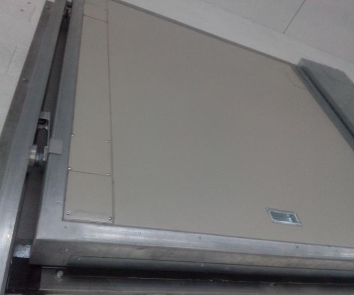 Puerta guillotina cortafuegos 1 hoja rodamientos Barcelona
