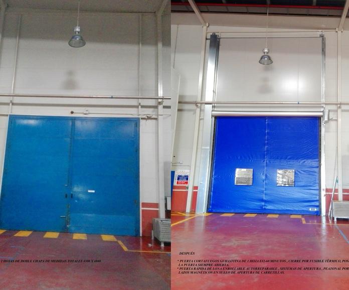 1 Puerta guillotina cortafuegos y rápida de lona enrollable autorreparable