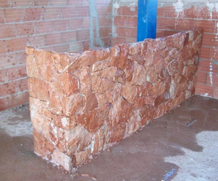 Barra de bar en marmol Rojo Alicante