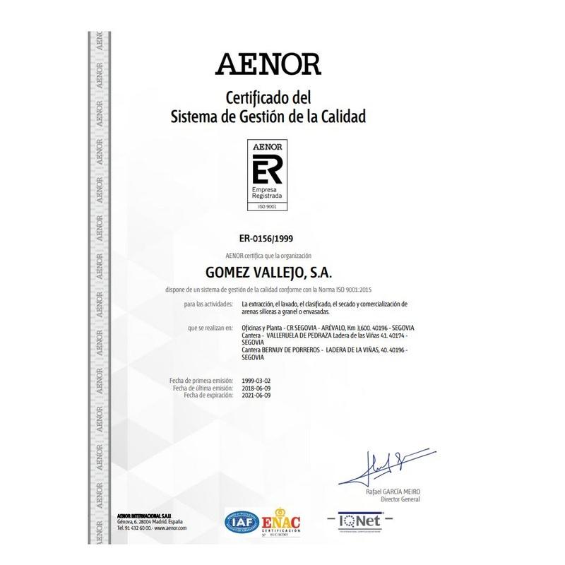 AENOR / Certificado del Sistema de Gestión de la Calidad: Productos y Servicios de Gómez Vallejo, S.A. Arenas Silíceas Especiales