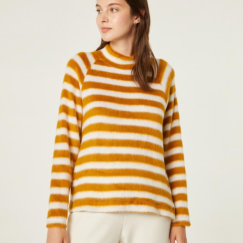 Jersey de pelo con rayas color mostaza y blanco: Catálogo de Manuela Lencería