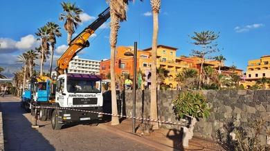 Trabajos con camión grúa. Desmontaje andamiada. Hotel Villa Cortés.