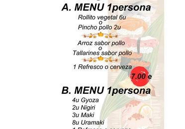 Menús solo servicio recoger en el restaurante