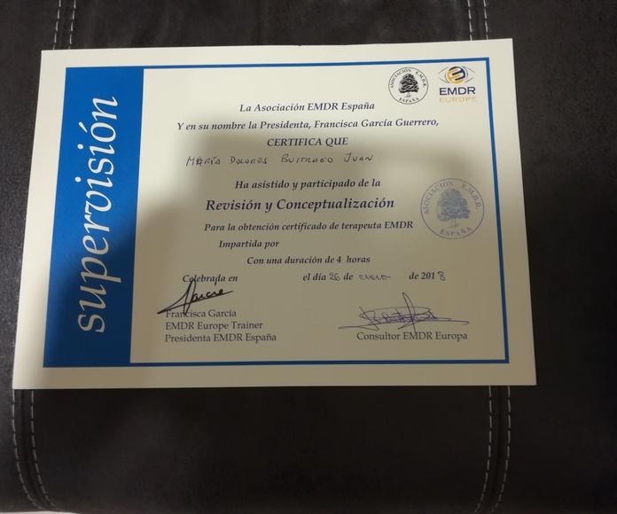 Certificaciones y títulos: Terapias y Tratamientos de Centro de psicología. Elche, Alicante