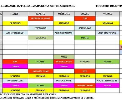 Horario nuevo curso 2016-2017
