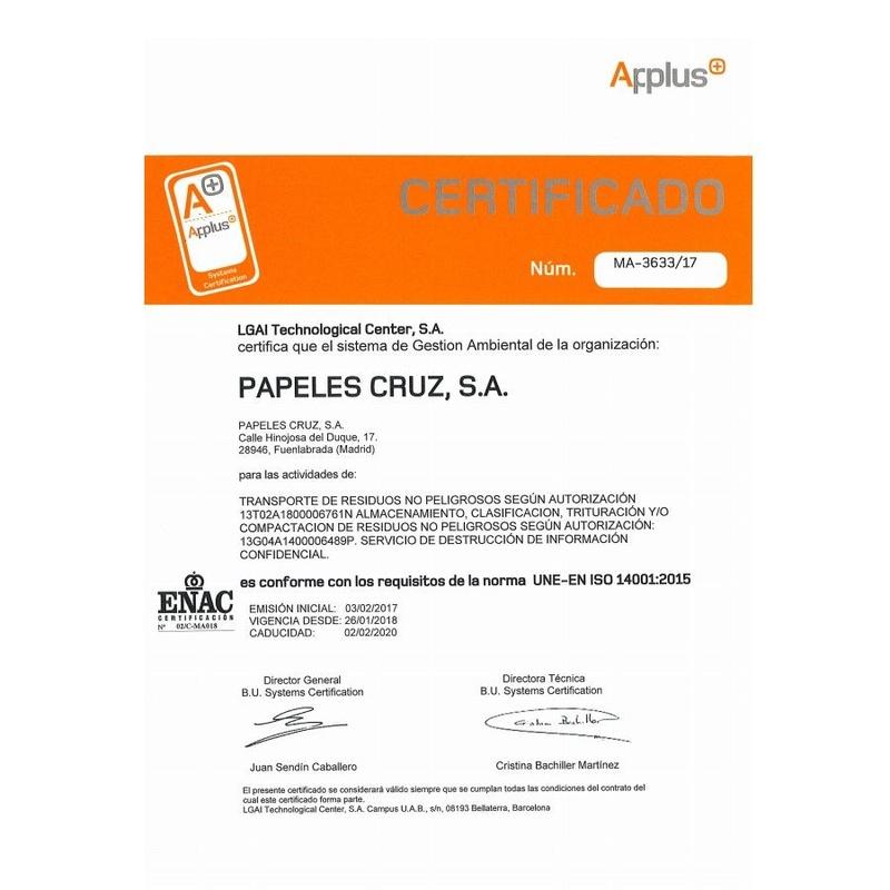 Certificaciones: Servicios  de Papeles Cruz, S.A.