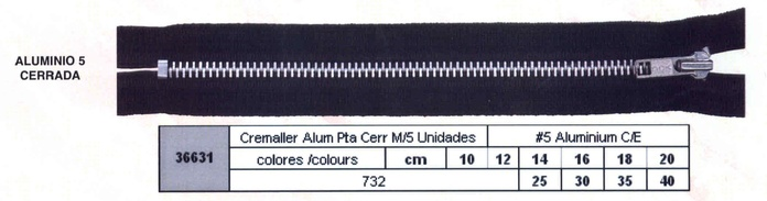 Cremallera SNS Aluminio Pta Cerrada num. 5