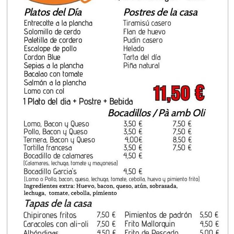 Servicio a domicilio y para recoger en local: Nuestra carta de Restaurante Casa García's