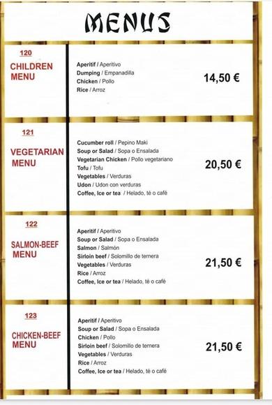 Menús: Carta y menú de Restaurante Teppanyaki Kazuki