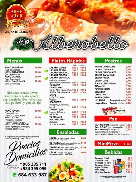 Nuestra carta impresa con todos nuestros productos: Nuestra carta de Alberobello
