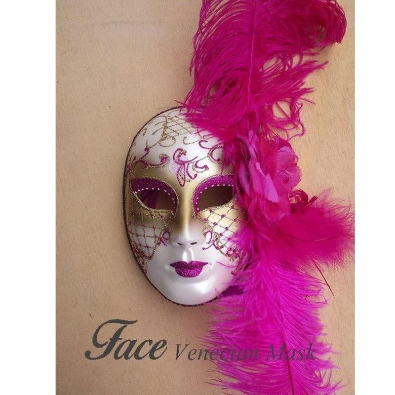 Máscaras con brillantinas y plumas Volto: Máscaras y antifaces de Face Venecian Mask