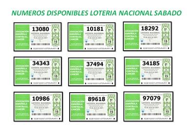 Números disponibles en CASA CARMINA para el sorteo del Cáncer de la lotería nacional para el Sábado 10 de Abril