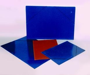 Carpeta sencilla azul y cuero