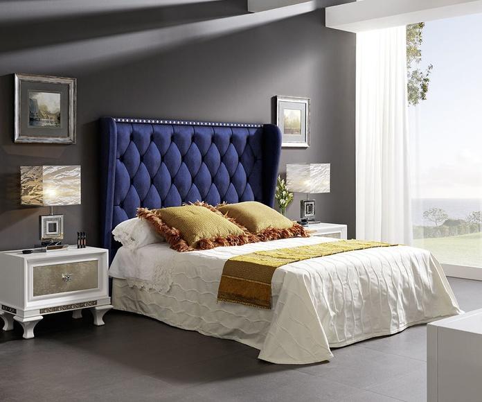 Dormitorio mod 81 Helios  blanco y pan de plata, cabezal tapizado